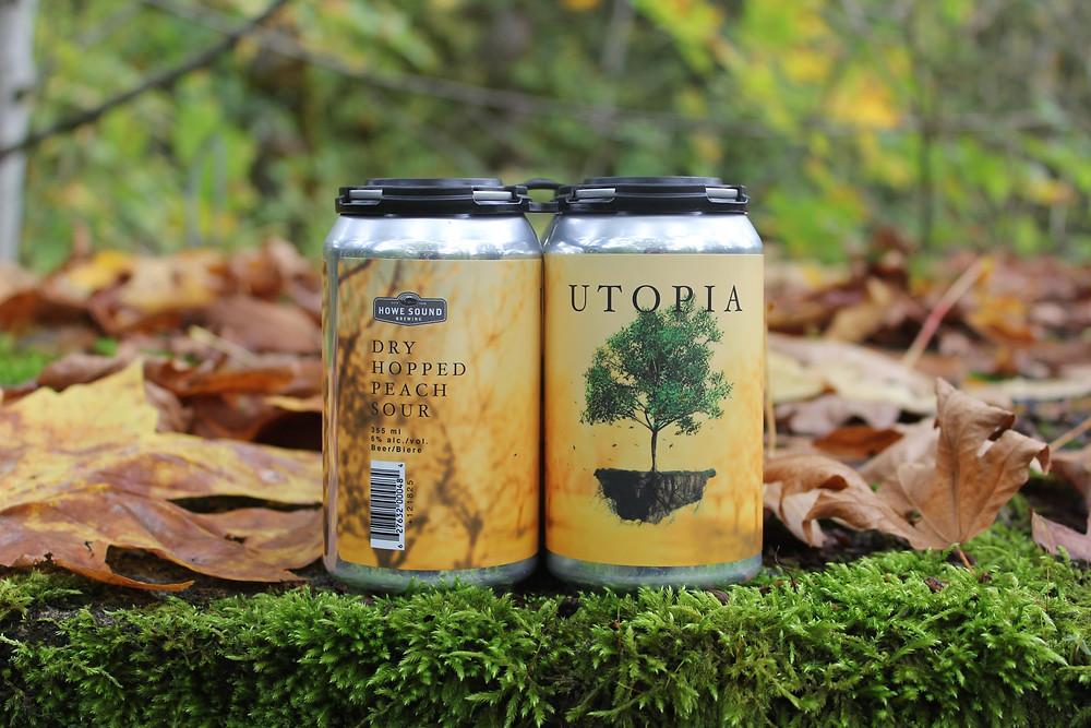 Bright orange beer cans in fallen leaves. Fall beers