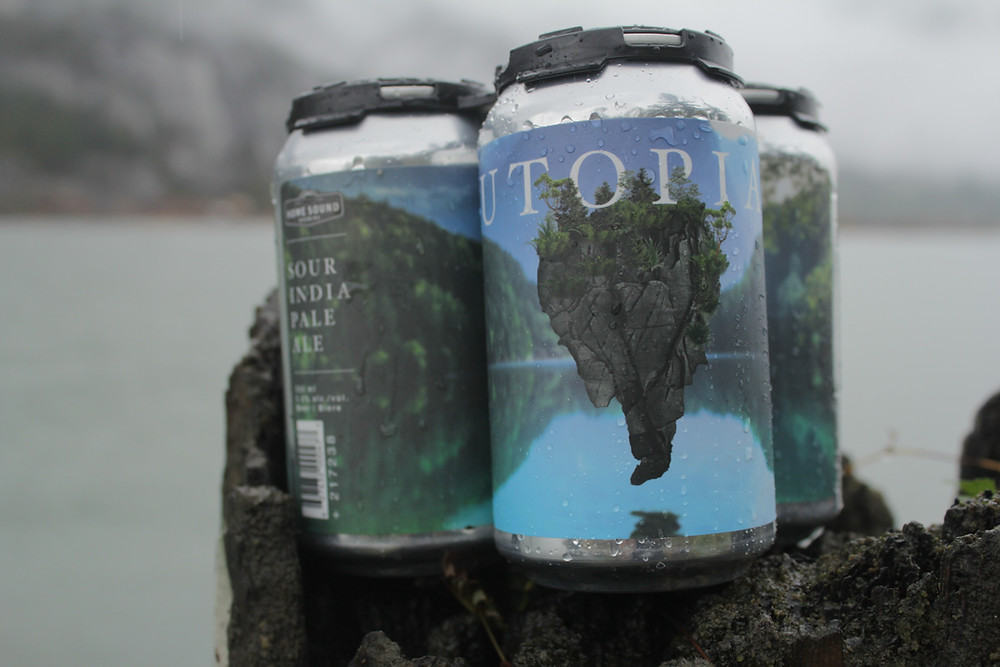 Beer cans by the water on a rainy day. Sour IPA