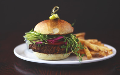 House-made Veggie Burger with chickpea patty