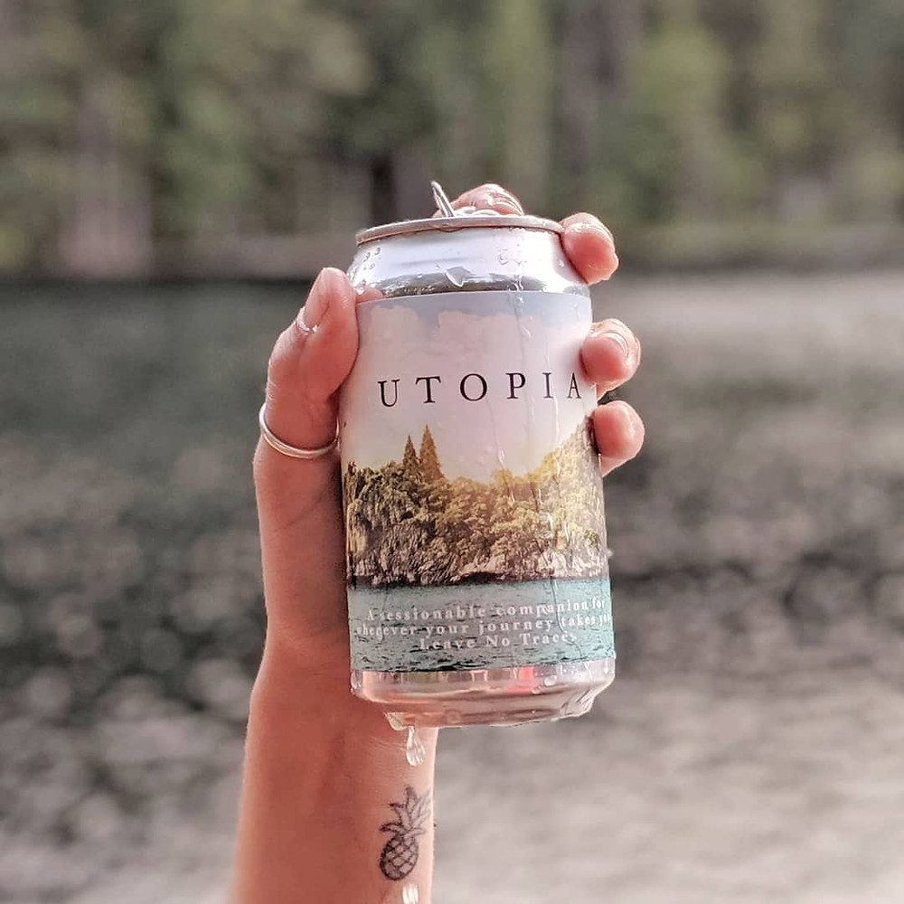 Sour Pinapple beer can by the lake with a tattoo