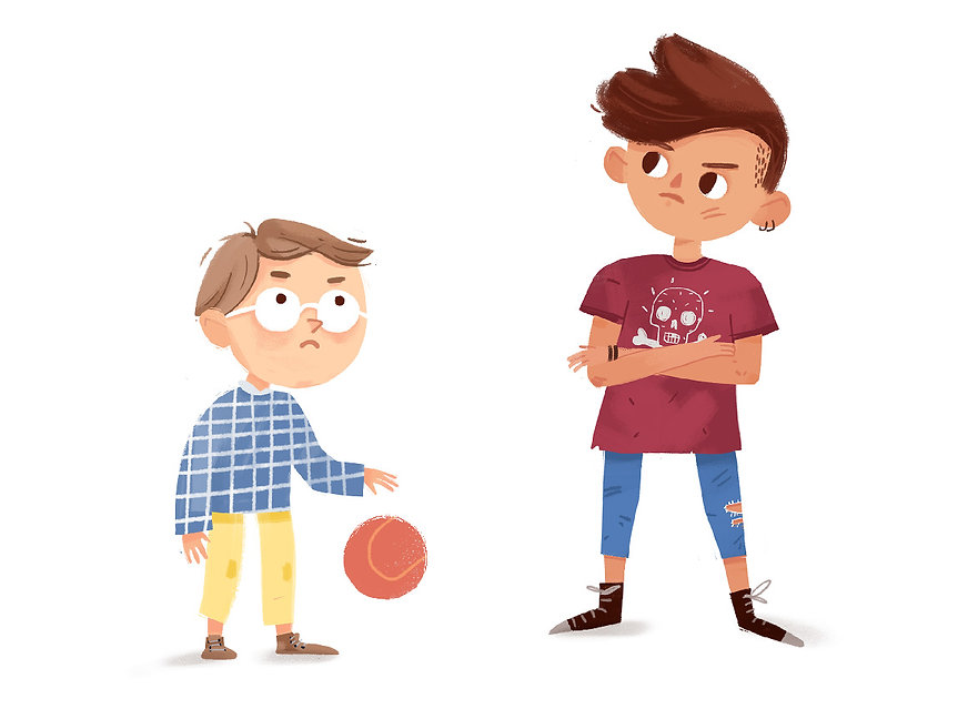 Nerdy boy and cool teenager, illustration for kids