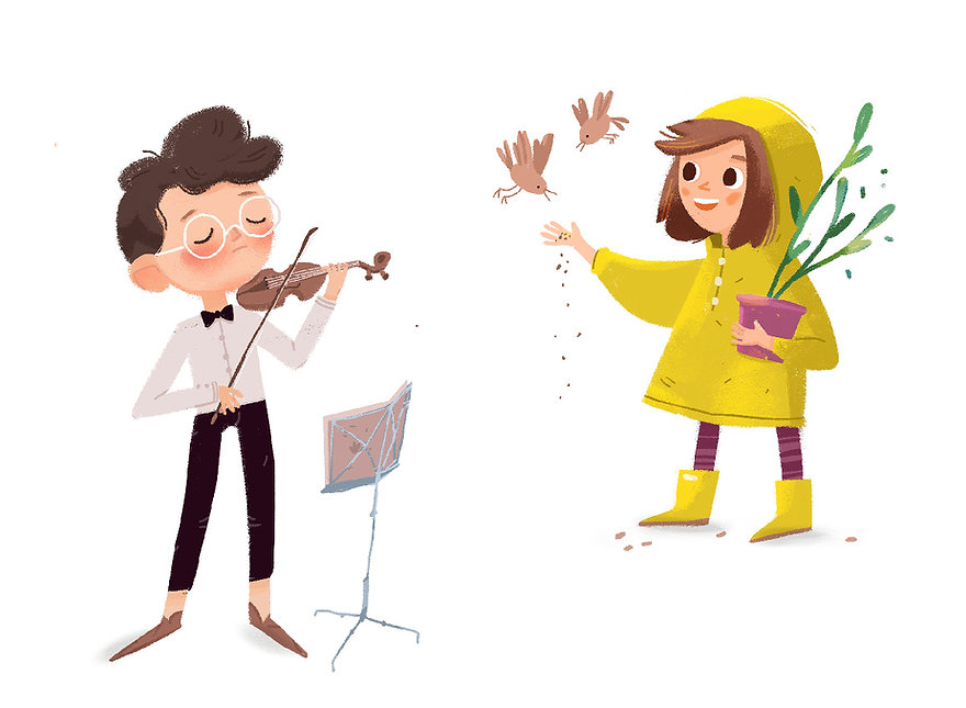 A boy with a violin and a girl feeding birds. Children illustration
