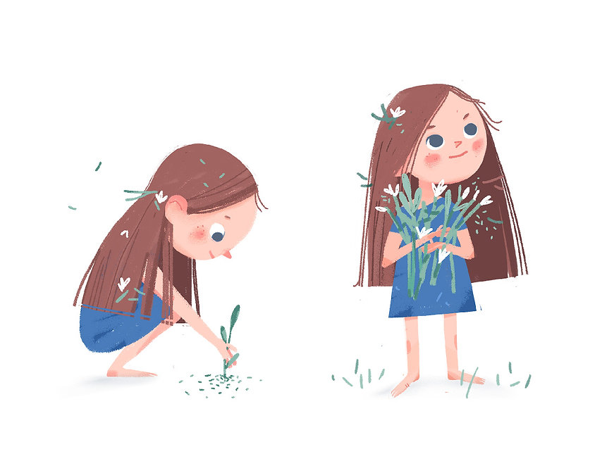 Cute girl gathering the flowers, children illustration