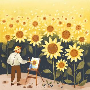 Van Gogh and sunflowers