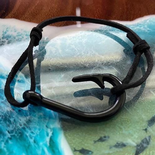 Leather Back Black Fish Hook Bracelet