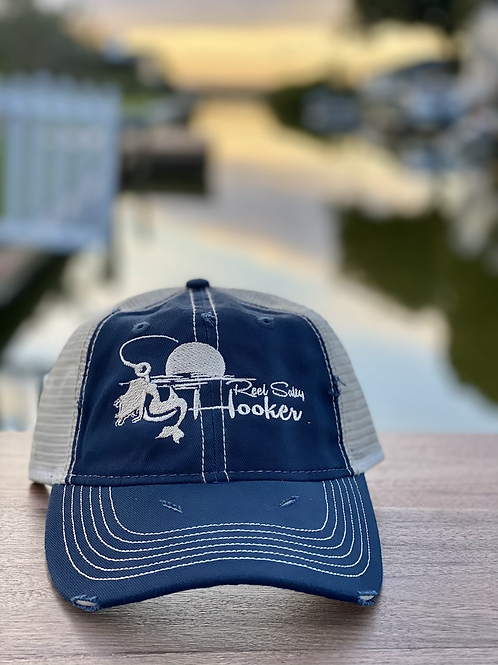 Reel Salty Hooker Distressed Dirty Washed Navy/Khaki Hat