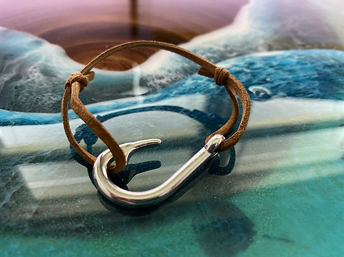 Leather Back Caramel Fish Hook Bracelet