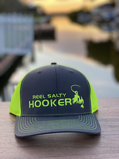 Reel Salty Hooker Charcoal/Neon Yellow Richardson Hat