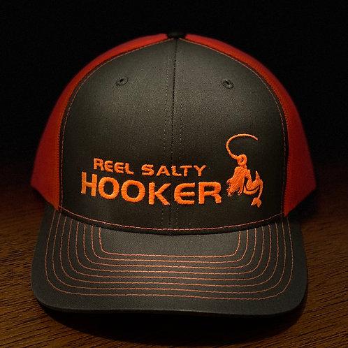 Reel Salty Hooker Charcoal/Neon Orange Richardson Hat