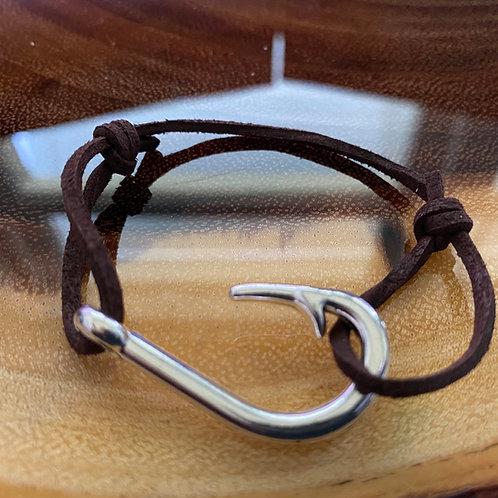 Leather Back Chocolate Fish Hook Bracelet