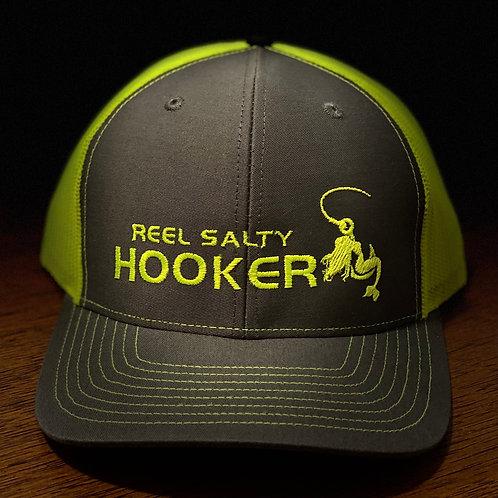 Reel Salty Hooker Charcoal/Neon Yellow Richardson Hat