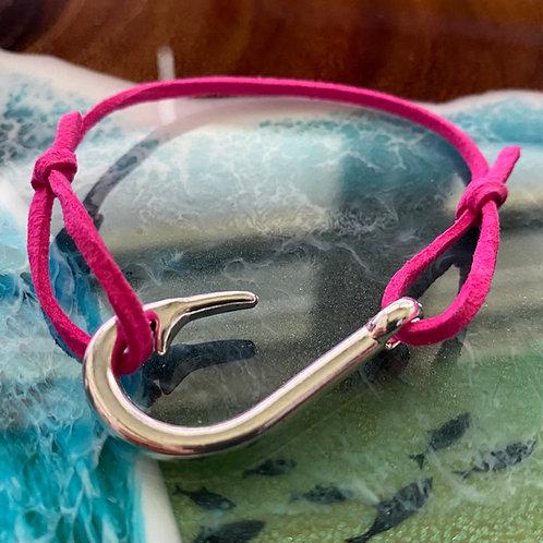 Leather Back Hot Pink Fish Hook Bracelet