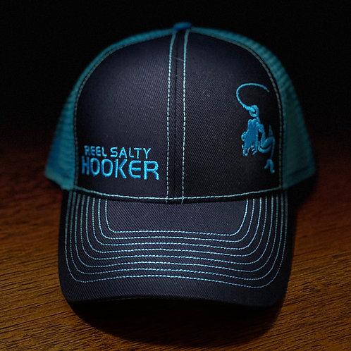 Reel Salty Hooker Navy/Turquoise Contrast Stitch Trucker Cap