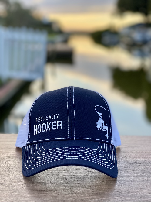 Reel Salty Hooker Navy/White Contrast Stitch Trucker Cap