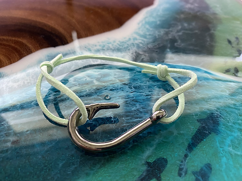 Leather Back Mint Fish Hook Bracelet