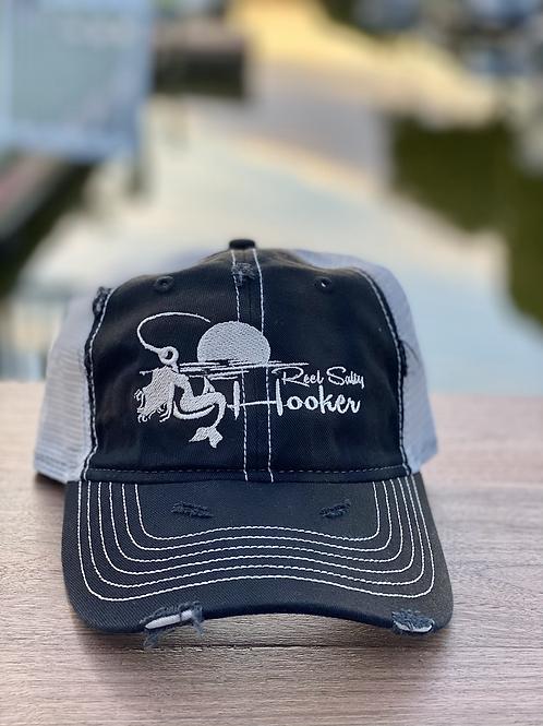 Reel Salty Hooker Distressed Dirty Washed Black/Grey Hat