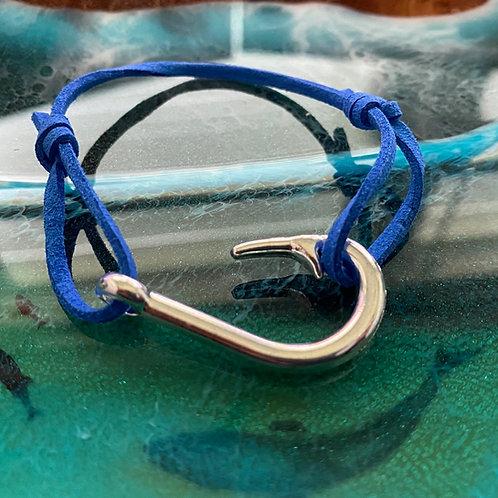 Leather Back Royal Blue Fish Hook Bracelet
