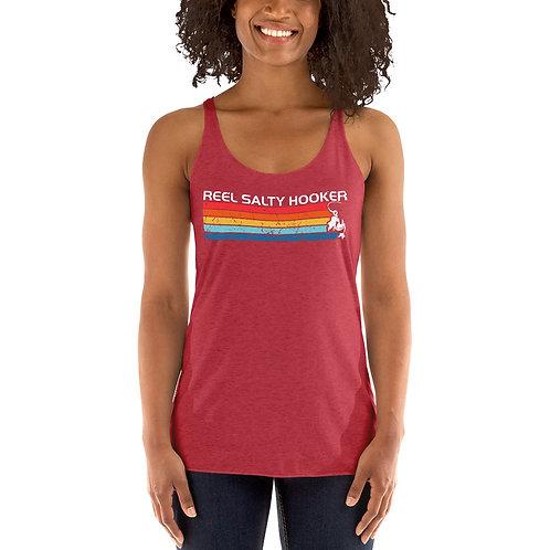 Reel Salty Hooker Retro Women's Racerback Tank