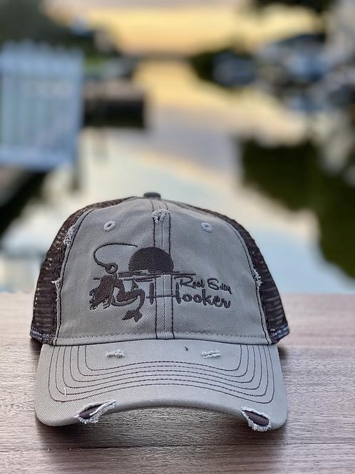 Reel Salty Hooker Distressed Dirty Washed Khaki/Brown Hat