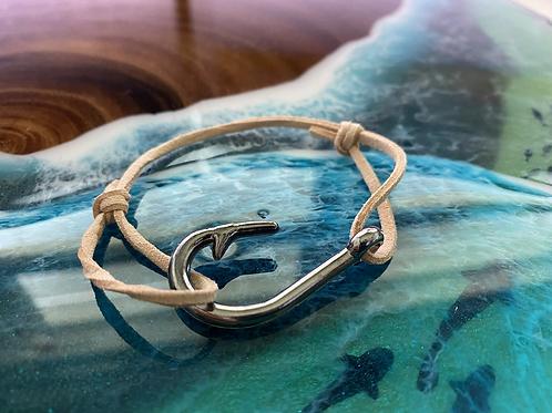 Leather Back Beige Fish Hook Bracelet