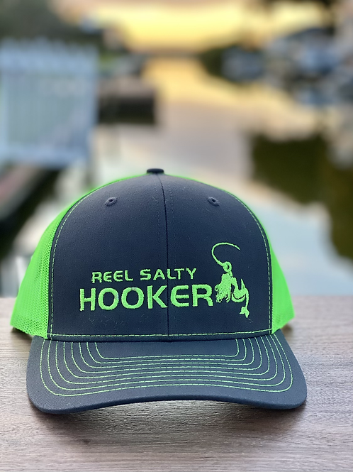 Reel Salty Hooker Charcoal/Neon Green Richardson Hat