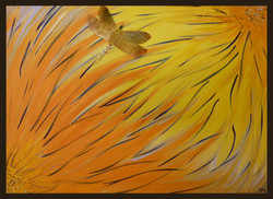 Dragonfly and Dahlias
