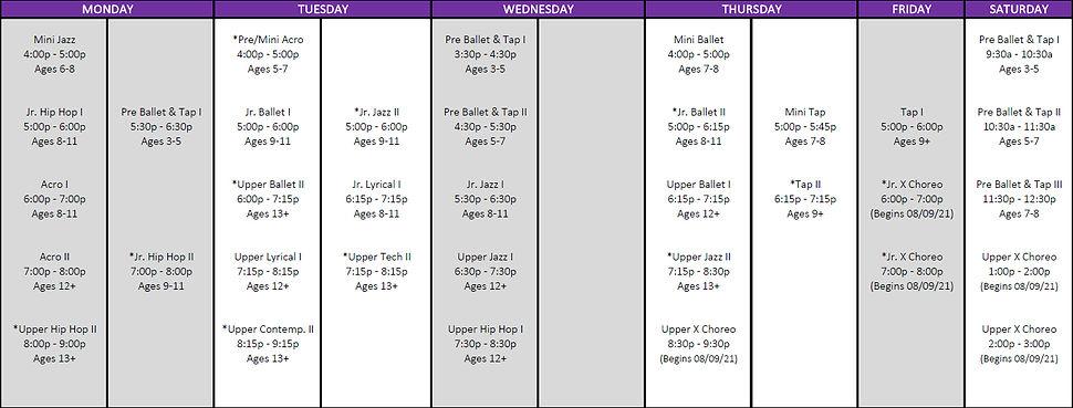 Evolution X Dance Class Schedule - Summe