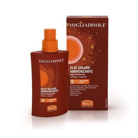 Olio solare abbronzante spray trasparente corpo e capelli spf 10