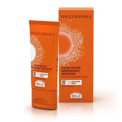 Crema solare abbronzante antirughe viso,collo,decollètè e mani spf 20