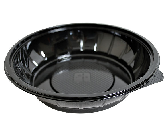 1000ml Round Black RPET Salad Bowl Case of 450