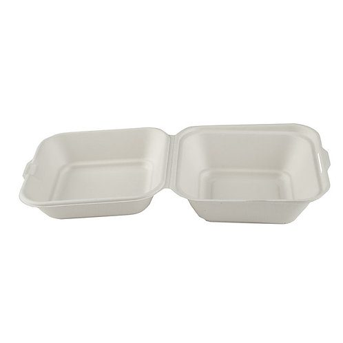 "6"" Square Bagasse Burger Box Case of 500"