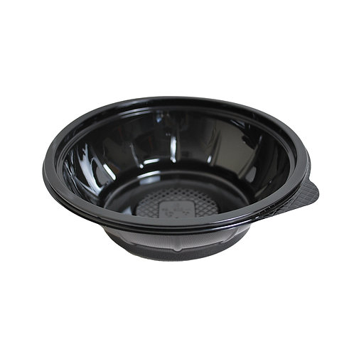 Small black plastic salad container