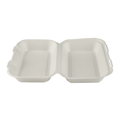 """10 x 6"""" Large Bagasse Clamshell Case of 250"""