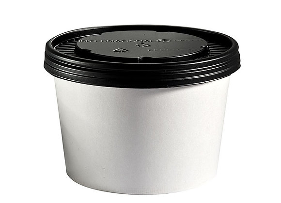 12oz White Board Food Container & Lid Case of 250