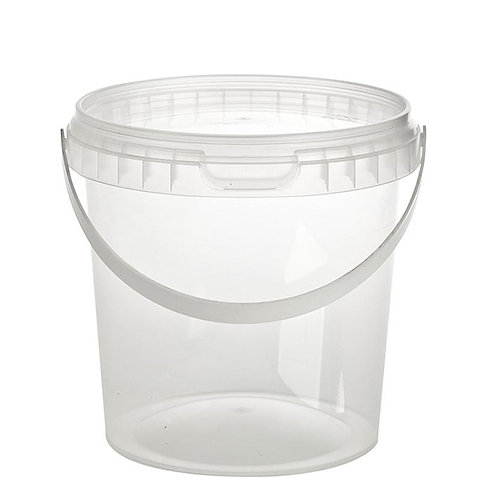 Large Round 1180ml or 1.2 Litre Plastic Tamper Evident Deli Food Container and Lid with Handle