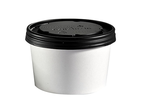 8oz White Board Food Container & Lid Case of 250