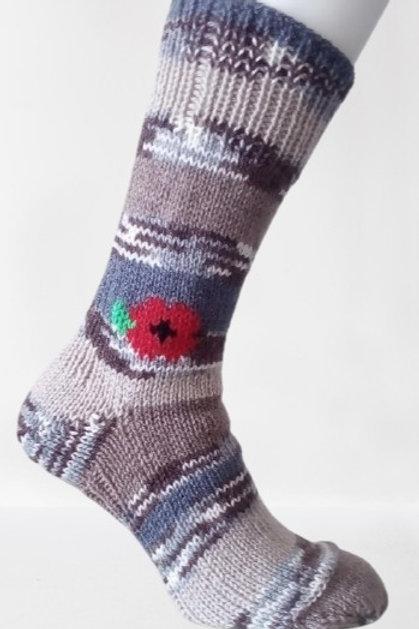 Pletené ponožky s vlčím mákem - pískový maskáč