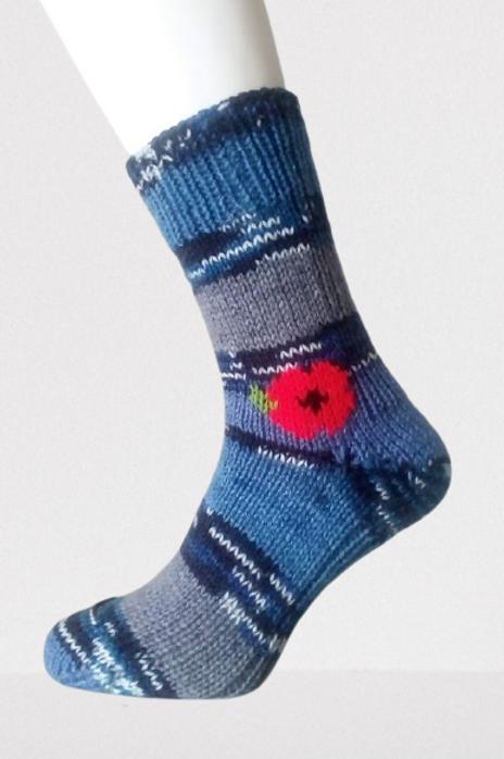 Pletené ponožky s vlčím mákem - modrý maskáč
