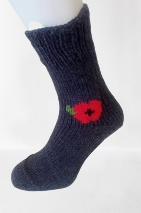 Pletené ponožky s vlčím mákem - tmavě šedé