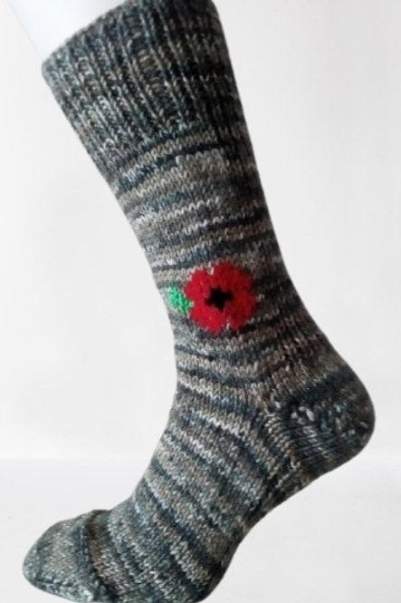 Pletené ponožky s vlčím mákem - zelený melír