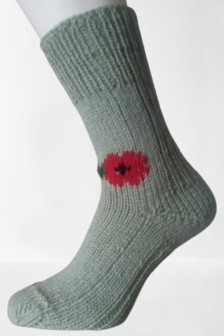 Pletené ponožky s vlčím mákem - světle zelené