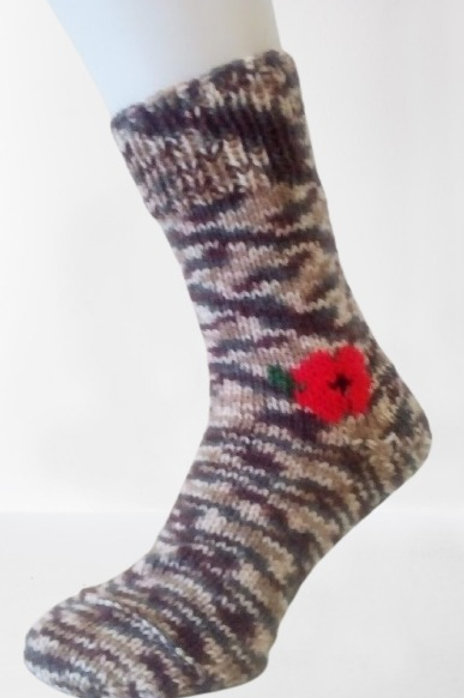 Pletené ponožky s vlčím mákem - hnědý melír