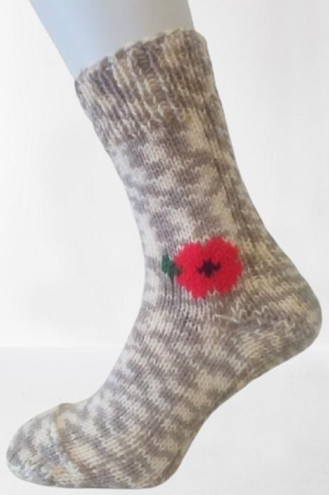 Pletené ponožky s vlčím mákem - béžový melír
