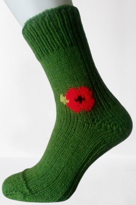 Pletené ponožky s vlčím mákem - zelené