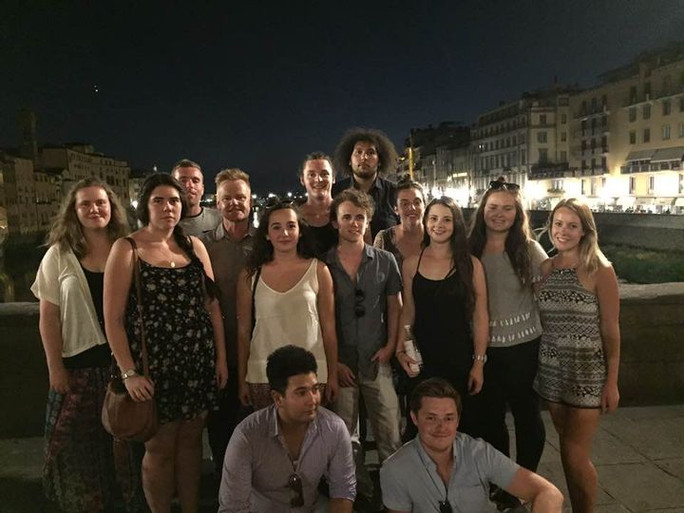 Student group on Ponte Vecchio of Florence