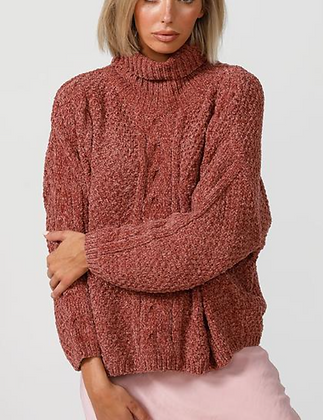 Rose Chenille Cable Knit