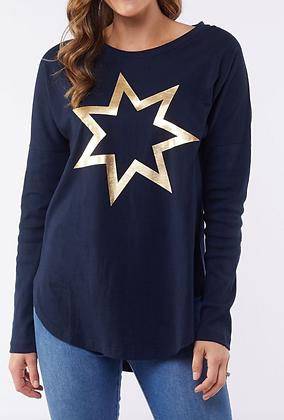 Elm Navy Star Long Sleeve Tee