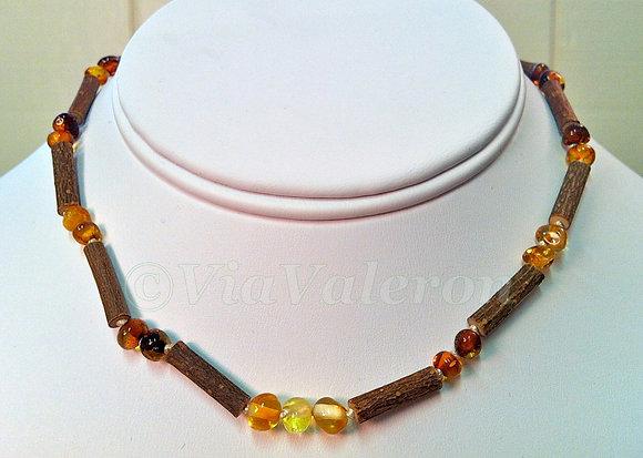 Hazelwood & Baltic Amber Teething Necklace