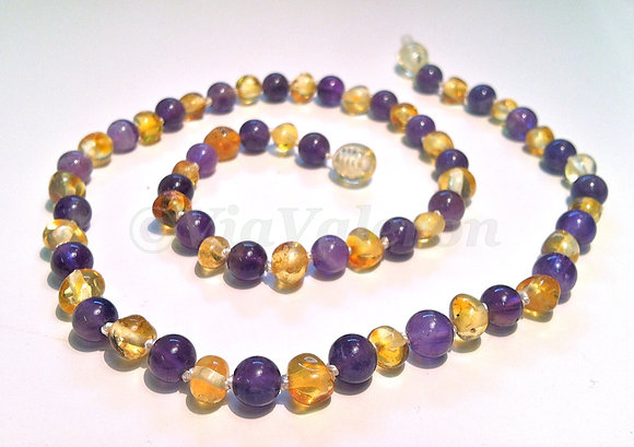 Amethyst & Lemon Baltic Amber Teething Necklace