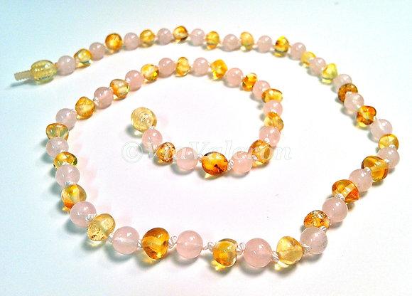 Rose Quartz & Lemon Baltic Amber Teething Necklace